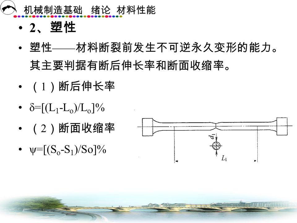 2、塑性 塑性——材料断裂前发生不可逆永久变形的能力。其主要判据有断后伸长率和断面收缩率。 (1)断后伸长率 δ=[(L1-Lo)/Lo]%